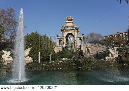 Barcelona, Spain, March 1, 2020 - Fountain At Parc De La Ciutadella Citadel Park. Sculpture Of Griff
