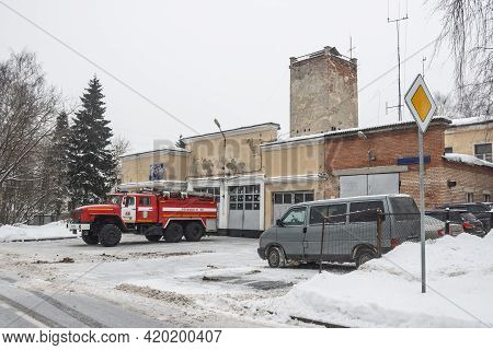 Vostochny District, Moscow, Russia - January 21, 2021. Fire Truck Ural 4320 On The City Street At Th