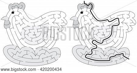 Chicken Maze For Kids With A Solution In Black And White