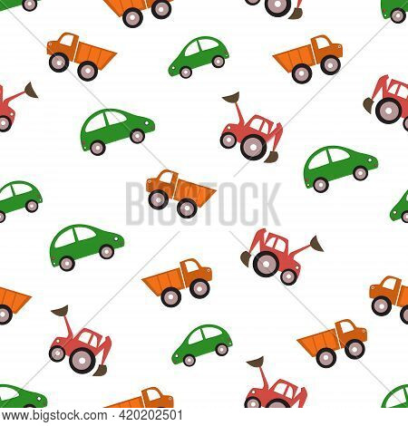 Cars Seamless Pattern In Cartoon Style. Kids Toys. Car, Truck And Tractor.