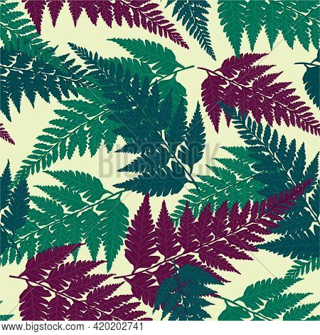 Seamless Decorative Pattern With Green, Blue And Purple Tropical Forest Fern Leaves Isolated On Ligh