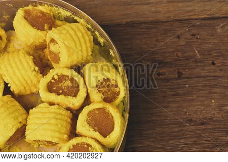 Malaysian Traditional Cookies Called As Pineapple Tart Or Tart Nenas Served During Eid Fitri.