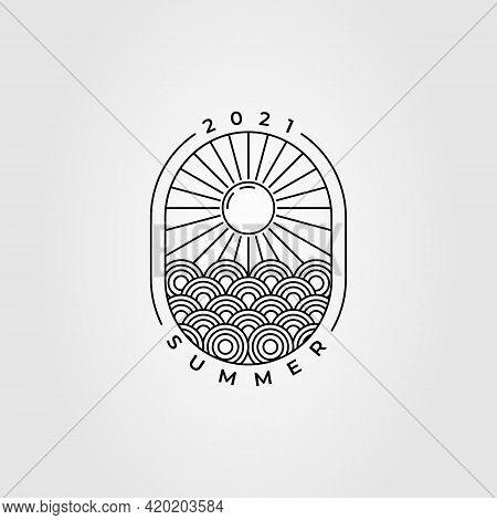 Japanese Wave Sunset Logo. Ocean Sunburst Logo Template Vector Design