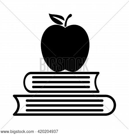 Book With Apple Icon On White Background. Education Sign. Knowledge Book Education Symbol. Flat Styl