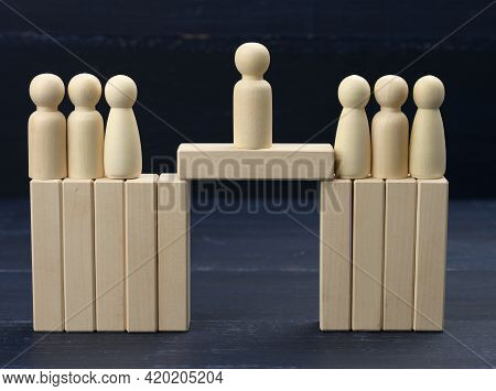 Men Stand On The Destroyed Bridge On Different Sides, Negotiator Between Them. Concept Of Finding A
