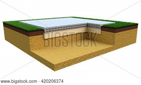 Poured Reinforced Cement Slab Base. Isolated Digital Industrial 3d Rendering