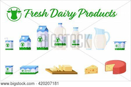 Milk And Dairy Products Flat Style Icons Set. Collection Of Dairy Products - Milk In Different Packa