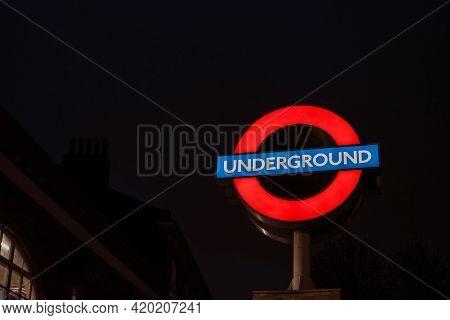 London, Uk - May 09, 2021: London Underground Sign At The Entrance Of Belsize Park Station, London,