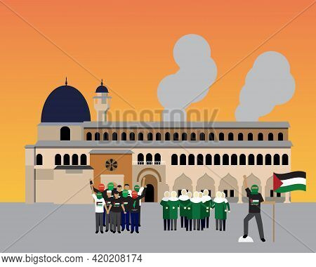 A Vector Of Masjid Al-aqsa With Muslim Men And Women Gathering To Protect The Mosque During Dawn. Sa