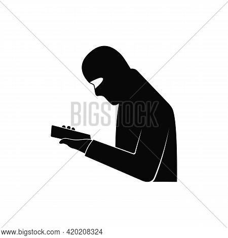 A Professional Fraudster Uses A Smartphone. The Fraudster Calls On A Mobile Phone. The Concept Of Ph