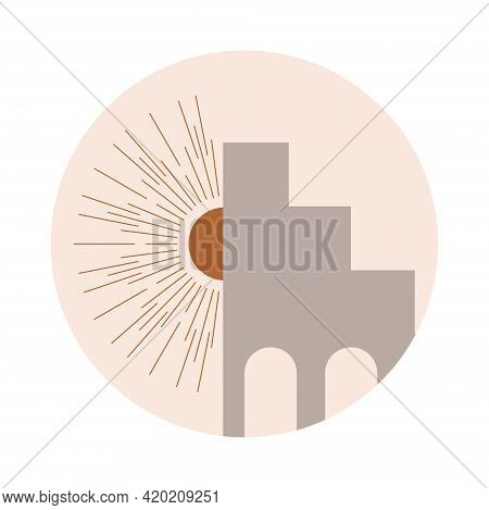 Moroccan Stairs, Arch, Walls, Arc Icon Vector. Architecture Elements In Boho Style. Tunisian, Algeri