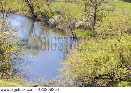 Natural Landscape. Rural Area. Beautiful Spring Landscape In The Mountains. Grassy Field And Hills.