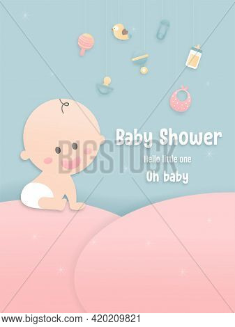 Vector Illustration For Baby Boy Shower Card On Blue Background, Papercraft Abstract Origami Cloud,