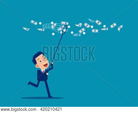 Catch Moneys. The Business Financial Vector Illustration