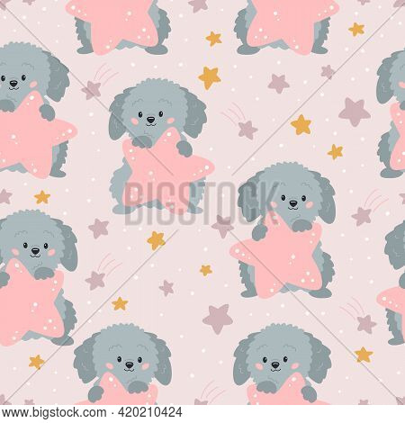 Childish Seamless Pattern With Cute Cartoon Dog And Stars On Pink Background. Ideal For Fabrics, Pri