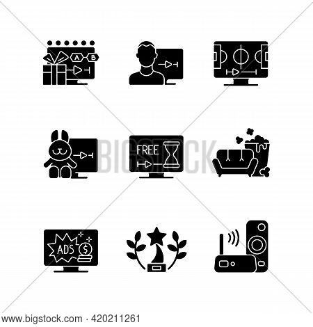 Broadcast Services Black Glyph Icons Set On White Space. Viewing Episodes. User Account. Sports Stre