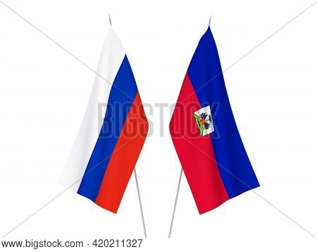 National Fabric Flags Of Russia And Republic Of Haiti Isolated On White Background. 3d Rendering Ill