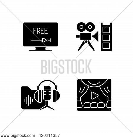 Streaming Services Black Glyph Icons Set On White Space. Free Trial Option. Retro Channel. Podcasts