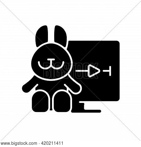 Cartoons Streaming Black Glyph Icon. Family-friendly Shows. Entertainment Content For Toddlers. Anim
