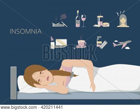 Insomnia. Woman In Bed With Open Eyes In Darkness Night Room. Reasons Of Insomnia Electronic Devices