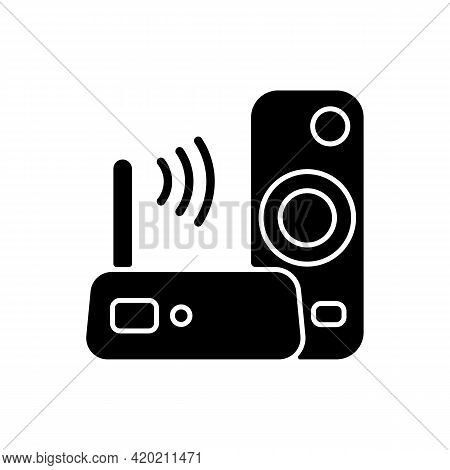 Media Streaming Device Black Glyph Icon. Watching Television On Internet-connected Device. Wi-fi Con