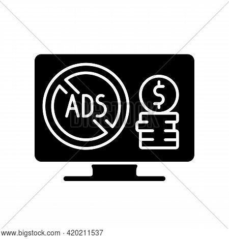 Ad-free Subscription Plan Black Glyph Icon. Additional Monthly Charge. Enjoying Streaming Movies Wit
