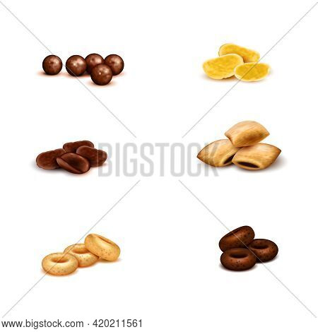 Crispy Breakfast Cereals Of Various Shape And Color Realistic Set On White Background Isolated Vecto
