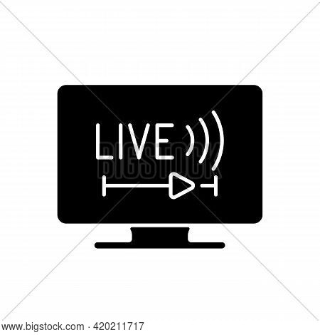 Live Tv Black Glyph Icon. Online Tv Service. Live Television. Programs Broadcasting In Real-time. St
