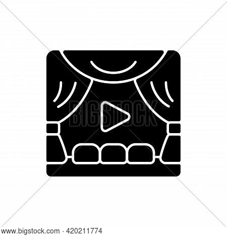 Premiere Black Glyph Icon. Watching Streaming Movies And Tv Series. Online Event In Real-time. Broad