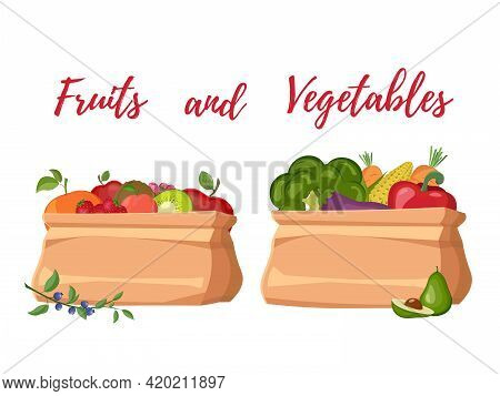 Set With Hand Drawn Colorful Doodle Fruits And Vegetables. Set Food Vegetables And Fruits Painting V
