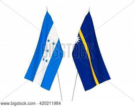 National Fabric Flags Of Honduras And Republic Of Nauru Isolated On White Background. 3d Rendering I