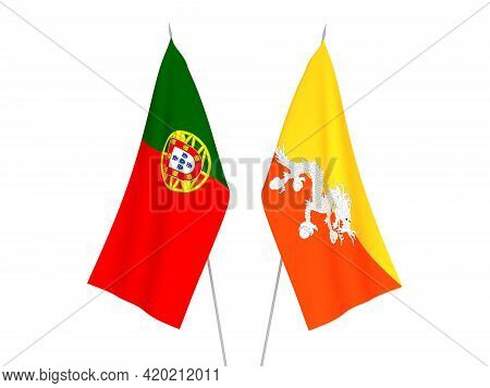 National Fabric Flags Of Kingdom Of Bhutan And Portugal Isolated On White Background. 3d Rendering I