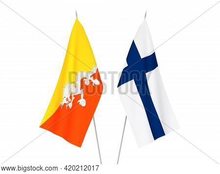 National Fabric Flags Of Kingdom Of Bhutan And Finland Isolated On White Background. 3d Rendering Il
