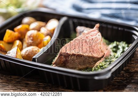 Delicious Red Meat Sous Vide Steak Packed In Portable Take Away Plastic Box And Served With Crunchy