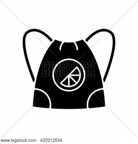 Branded Sling Bag Black Glyph Icon. Fashionable Accessories To Carry On Back. Unique Design Of Moder