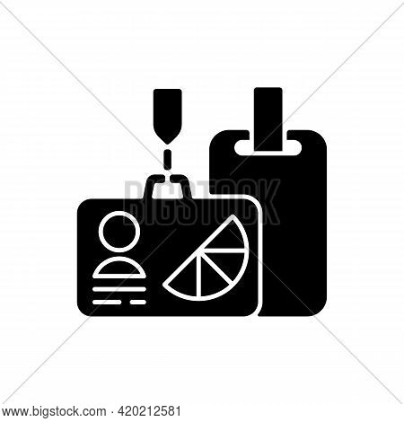 Branded Conference And Meeting Id Badges Black Glyph Icon. Special Styled Cards To Identify All Part