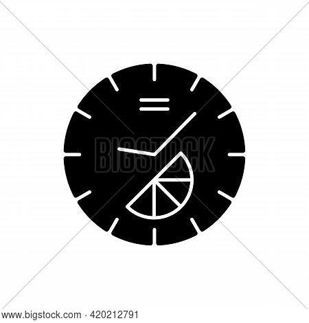 Branded Clock Black Glyph Icon. Modern Designed House Decor. Make Home Look Stylish And Modern. Desi