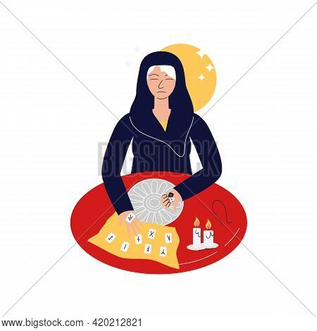 Elderly Fortune Teller With Runes And Futhark Circle, Candles And Pouch. Old Mystic Woman Oracle Hol