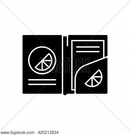 Branded Paper Folder Black Glyph Icon. Stylish Folder That Holds Papers And Money Together. Uniquely
