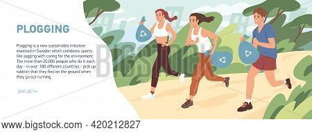 Web Banner About Plogging With People Jogging And Picking Garbage Into Trash Bags. Men And Women Run