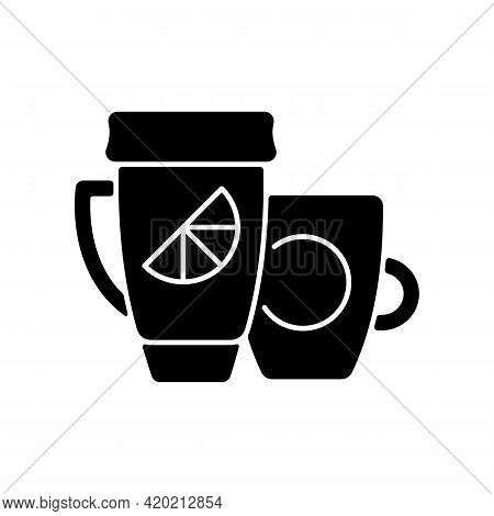 Branded Cup And Thermal Cup Black Glyph Icon. Unique Stylish Conteiner For Drinking Hot Liquids. Uni