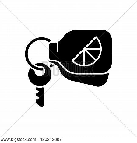 Branded Keyring Black Glyph Icon. Fashionable Accessories For Keys Of House Or Cars. Designers Creat