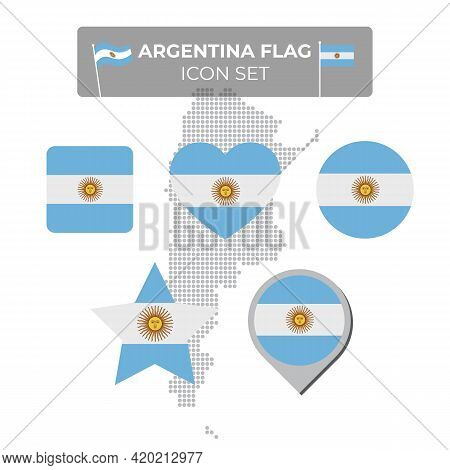 Argentina Flag Icons Set In The Shape Of Square, Heart, Circle, Stars And Pointer, Map Marker. Mosai