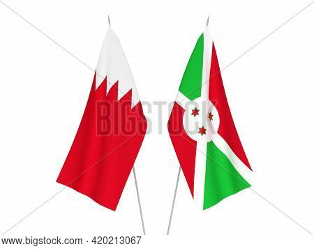 National Fabric Flags Of Bahrain And Burundi Isolated On White Background. 3d Rendering Illustration