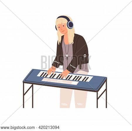 Modern Musician Standing In Headphones And Playing Synthesizer. Talented Piano Player Performing Mel