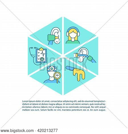 Clinical Ear Examination Concept Line Icons With Text. Ppt Page Vector Template With Copy Space. Bro