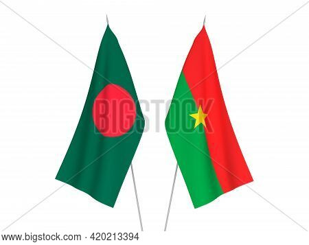 National Fabric Flags Of Bangladesh And Burkina Faso Isolated On White Background. 3d Rendering Illu