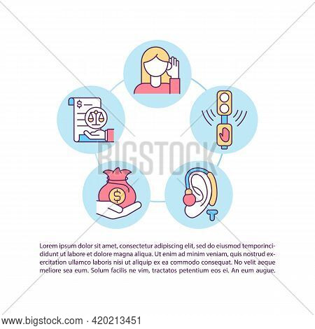 Societal Costs Concept Line Icons With Text. Ppt Page Vector Template With Copy Space. Brochure, Mag