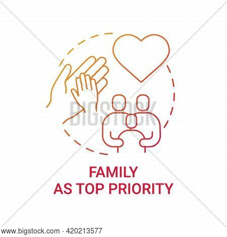 Family As Top Priority Concept Icon. Personal Value Idea Thin Line Illustration. Strong Relationship