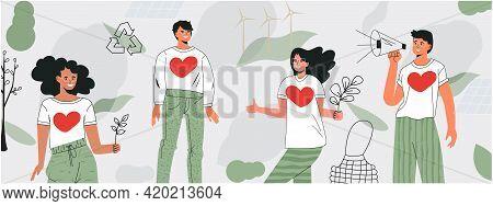 Volunteering Community Concept. Banner For International Volunteer Day. Care For Environment, Green